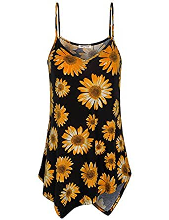 SeSe Code Floral Camisole Women Spaghetti Strap Tank Fashion Tops Womens Camis Sleeveless Loose V Neck Shirts Beach Wear Flowy Hem Sunflower Cotton Petite Tunic Top Black M