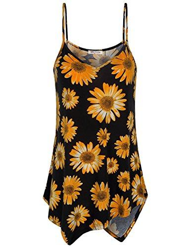 isole Women Spaghetti Strap Tank Fashion Tops Womens Camis Sleeveless Loose V Neck Shirts Beach Wear Flowy Hem Sunflower Cotton Petite Tunic Top Black M ()