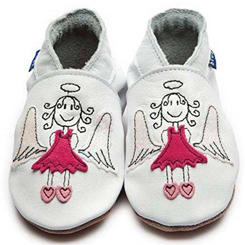 Inch blue girls boys luxury leather soft sole pram shoes-angel-white & pink