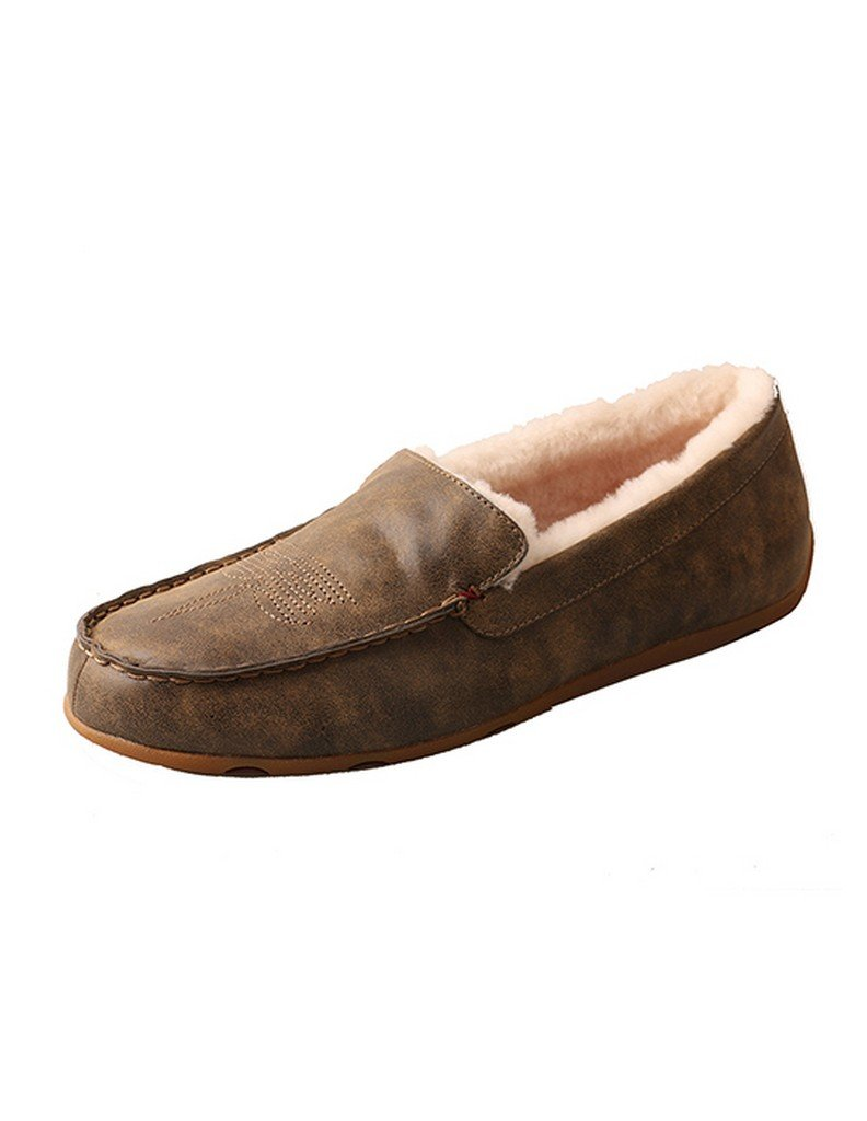 Twisted X Boots Mens Bomber Fleece Lined Slipper 11.5 M Brown