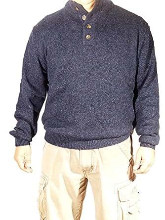 Enzo mantovani mens 100 wool 4 button sweater blue for Enzo mantovani