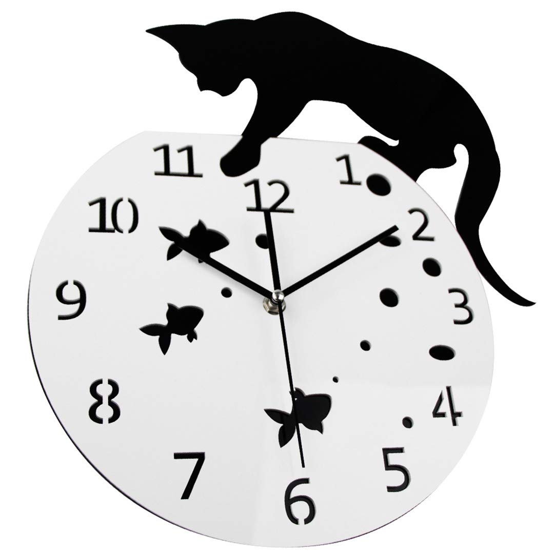 Amazon.com: SHFISIKI 3D Home Decor Acrylic Wall Clock Cat and Fish Design Big Watch Quartz Cat Clock Living Room Decorative Clocks T5078: Home & Kitchen