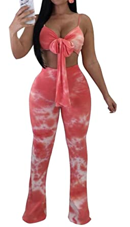 f3fdd536ad49 XTX Womens Tie-Dyed 2 Piece Set Tracksuits Crop Top+Pants Romper Outfit  Jumpsuit