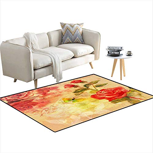 - Extra Large Area Rug Vintage Style backgrounwi Roses anbutterfly on tonepaper 40