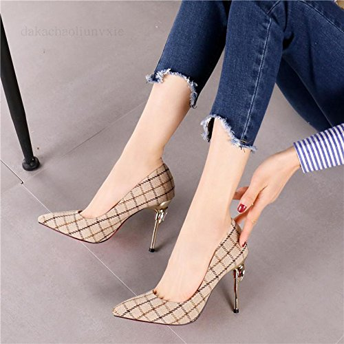 Single Cloth Mouth Shoes Heels Fine 38 Banquet Lattices Heels 9 Lady Grey 5Cm Spring Shoes Work Temperament Coloring Shallow MDRW Leisure Fashion Elegant gx78qz