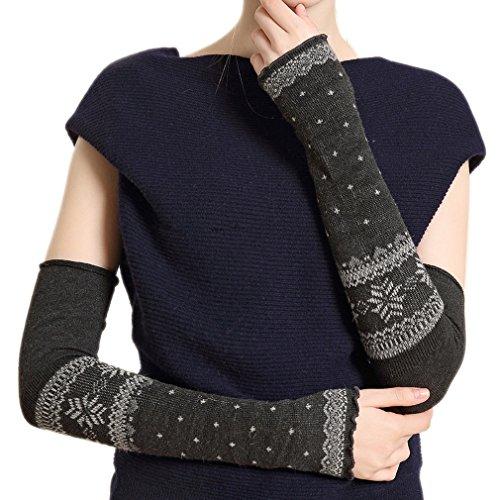 ELE GENS Damen Fingerlos Armwärmer Armstulpen Handschuhe gestrickt Lang Kaschmir (#A Grau)