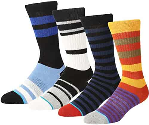 1d26354e35938 Mens Dress Crew Sock-4 Pairs Classic Funny Novelty Cotton Soft Casual Work  Socks