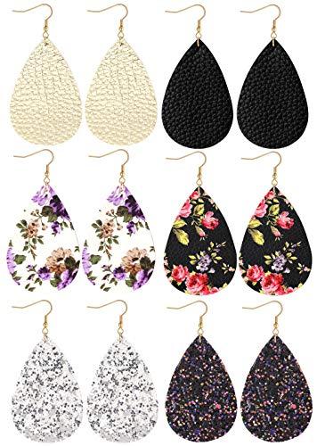 Leather Dangle (Finrezio 6pairs Teardrop Leather Dangle Earrings for Women Girls Statement Druzy Flower Drop Dangling Earring Set)