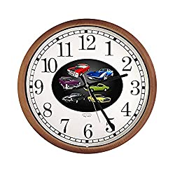 New Espresso/Cappuccino Finish Round Wall Hanging Clock featuring Muscle Cars Themed Logo