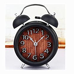Usany 5'' Two Bells 3D Table Clocks Desktop Clock Home Decoration Desk Clocks Non-ticking Silent Quartz Vintage Alarm Clocks with Nightlight and Loud Alarm Black