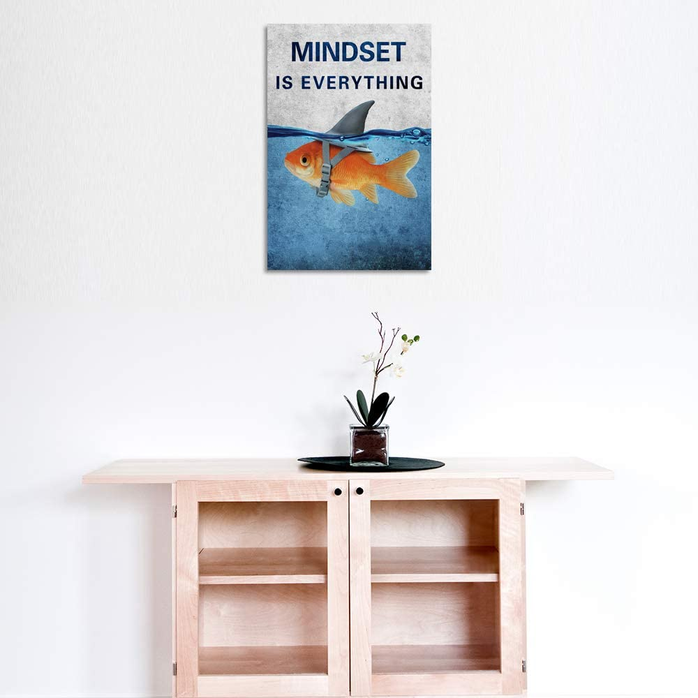 motivational quotes wall art mindset is everything inspirational entrepreneur canvas poster prints fish shark picture artwork for bedroom living room