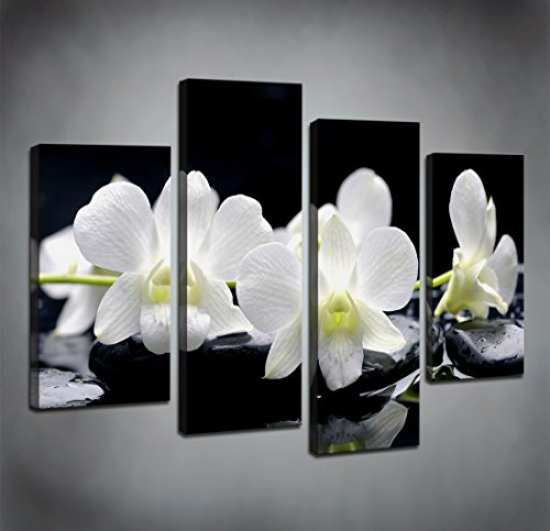 Tropical Living Room - Moyedecor Art - 4 Pieces Wall Art Painting Black Spa Stones Still Life Of Zen Stones With Tropical Phalaenopsis The Pictures Prints On Canvas For Home Decor Decoration Living Room Ready to Hang
