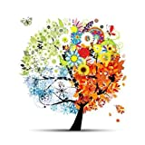 Wallmonkeys Four Seasons Spring, Summer, Autumn, Winter Art Tree Peel and Stick Wall Decal, 24-Inch Height by 24-Inch Width