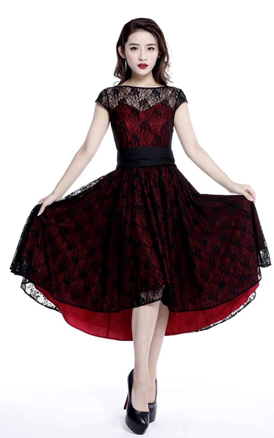 Chic Star Red Lace Swing Dress