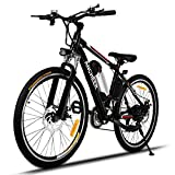 ANCHEER Power Plus Electric Mountain Bike, 26'' Electric Bike with Removable 36V 8Ah Lithium-Ion Battery, Shimano 21 Speed Shifter (Black)