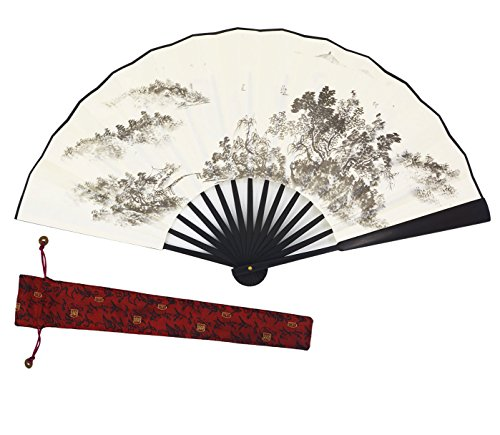 [Meifan 100% Handmade Mens Chinese Vintage Retro Style Hand Held Folding Fans (White-C)] (Mini Black And White Spanish Hat)