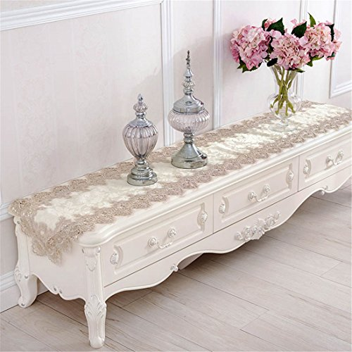 TaiXiuHome Modern Lace Floral Embroidered Indoor Outdoor Table Runner Table flags for Country Rustic Party Wedding Home Decoration 16 x 48 inch approx by TaiXiuHome (Image #4)
