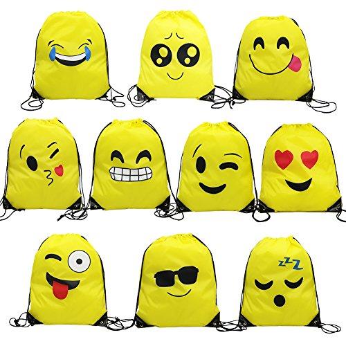 Magift Emoji Drawstring Backpack, Surprise Favourite Party Gift Bag(10 Pack)