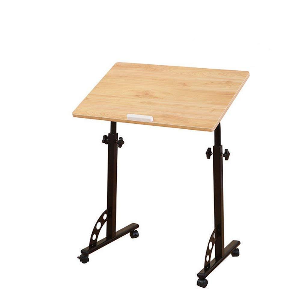 Dongy家庭用折りたたみ式テーブル、取り外し可能なラップトップテーブル、子供用の机、ソファ、サイドベッド、高さ調節可能な40 * 60 cm(色:無垢材色) B07T5KBPC1 Solid Wood Color