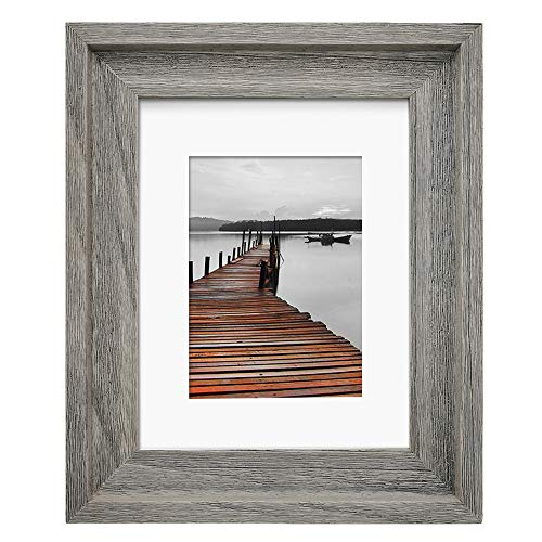 Eosglac Rustic 8x10 Picture Frame Matted for 5x7, Solid Wood with Glass Front, Wall Mounting or Tabletop, Weathered Grey