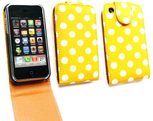 Emartbuy ® Value Pack für Apple iPhone 3G / 3GS Premium-PU-Leder Flip Case / Cover / Tasche Polka Dots Gelb / Weiß + Kompatibel Kfz-Ladegerät + LCD Displayschutz