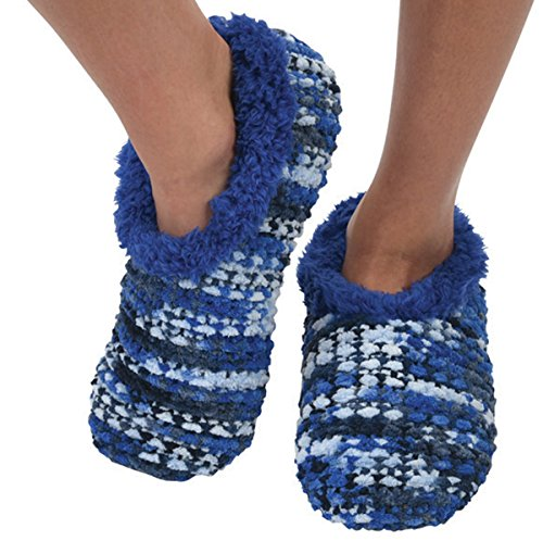 Snoozies Womens Chenille Knit Cozy Sherpa Fleece Non Skid Slipper Socks - Blue, Large