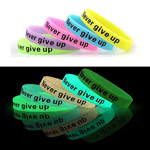 Personalized Glow In The Dark Wristbands (JSP 10 PCS Never Give Up Silicone Wristbands, Glow-in-The-Dark Rubber)