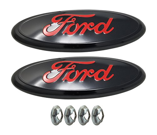 Muzzys (SET OF TWO) 2005-2014 F150 RED and BLACK FORD Front Grille AND Tailgate Emblem Set WITH NUTS, Oval 9