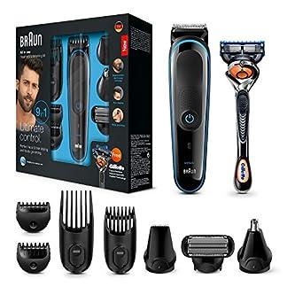 Braun 9-in-1 Multi-Grooming-Kit MGK3085, Barttrimmer und Haarschneider, Körperhaartrimmer, Ohren- und Nasenhaartrimmer, Präzisionstrimmer, lebenslang scharfe Klingen, schwarz/blau 12