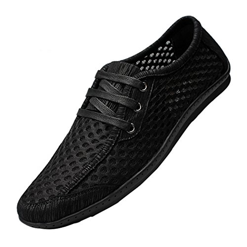 Snowman Lee Men's Mesh Fabric Lightweight Breathable Leisure Walking Sneakers Casual Beach Summer Shoes Black 11 M US