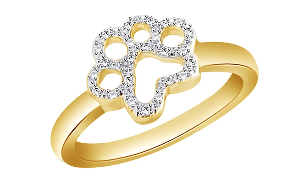 White Cubic Zirconia Paw Style Fashion Ring In 14k Yellow Gold Over Sterling Silver
