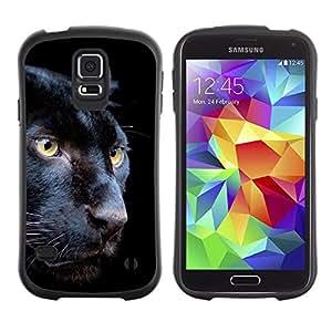 All-Round híbrido de goma duro caso cubierta protectora Accesorio Generación-I BY RAYDREAMMM - Samsung Galaxy S5 SM-G900 - Puma Black Fur Intense Animal Nature