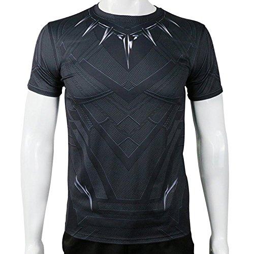 [KVCOS Captain America Civil War Black Panther Sport T-Shirt (XL)] (Black Panther Civil War Costume)