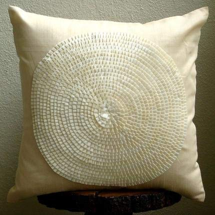Ivory Decorative Pillows Cover, Ribbon Art Work Medallion Throw Pillows Cover, 20