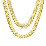 """Mens 14K Yellow Gold Solid 8mm Miami Cuban Chain Pendant Necklace, 22""""- 30"""": more info"""