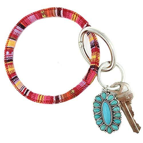 (Emulily Oval Turquoise Charm Serape Bangle with Key Chain Western Theme Boho (RED))