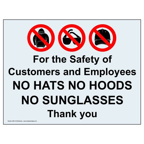 ComplianceSigns Clear Vinyl Security Notice Window Cling, 7 x 5 in. with Front - Sunglass Windows