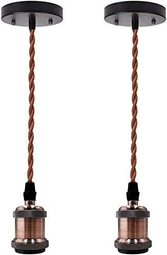 KIRIN Industrial Pendant Light Kit, Retro Farmhouse Style Pendant Lighting Cord E26 Lamp Socket, with Adjustable Twisted Brown Cloth Cord for Kitchen Bedroom Home Corridor Studio 2 Pack Coffee