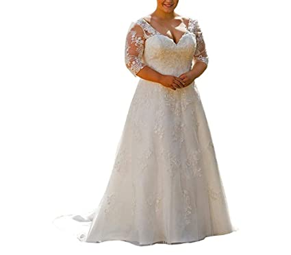 Women 2019 Half Sleeve Lace Plus Size Wedding Gowns Beach ...