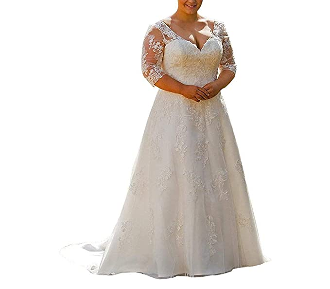 Women 2019 Half Sleeve Lace Plus Size Wedding Gowns Beach Bridal