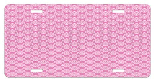 Iliogine Pink Intricate Flower Motifs Artistic Petals and Leaves Retro Renaissance Tile Pink and Baby Pink License Plate Frame Car Licence Plate Covers Auto Tag Holder 6 x 12