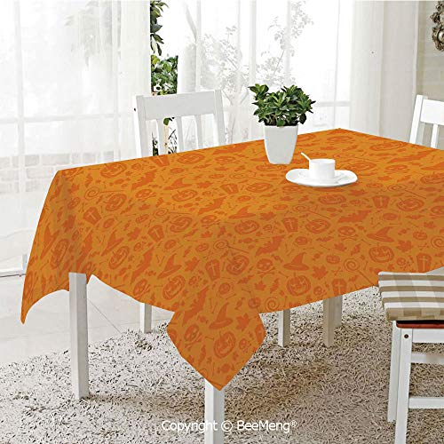 BeeMeng Dining Kitchen Polyester dust-Proof Table Cover,Monochrome Design with Traditional Halloween Themed Various Objects Day,Orange59 x 59 inches