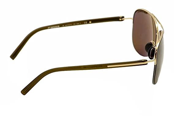50d8d20eeff Amazon.com  Porsche Design P 8569 P8569 B Gold Aviator Pilot Sunglasses  61mm  Clothing