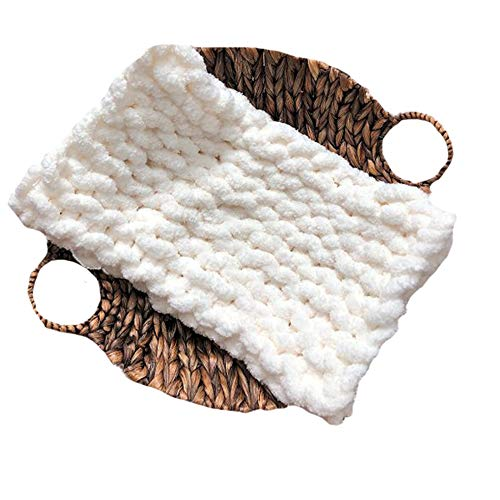 Super Chunky Hand Knit Throw,Crochet Chenille Blanket,40x79in Thick Knit Blanket,Sofa Couch Bed Décor by FAU-Hand Knit Blanket (Image #1)