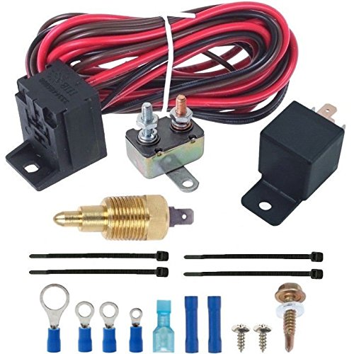 American Volt 180'f Electric Fan Thermostat Wiring Install Kit 3/8' Npt Complete Relay Switch