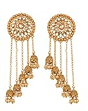 Bindhani Premium Quality Bollywood Jewelry Wedding Long Chain Indian Bahubali Jhumka Jhumki Earrings For Women