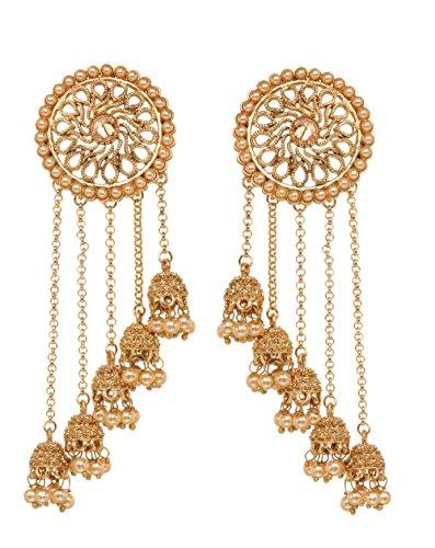 Bindhani Premium Quality Bollywood Jewelry Wedding Long Chain Indian Bahubali Jhumka Jhumki Earrings For (Indian Style Earrings)