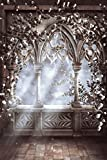 Gothic Architecture Backdrop Alice in Wonderland Inspired white rose flowers stone Window sunshine sunlight Birthday Grey Building Printed Fabric Photography Background (F0532, 8' wide by 12' tall)