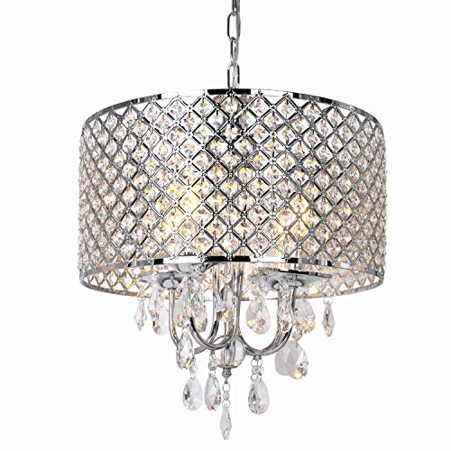 16.5 inch 4-Light Crystal Chandelier Ceiling Light with Beaded Round Drum Metal Shade, Antique Chrome Finish Pendant…