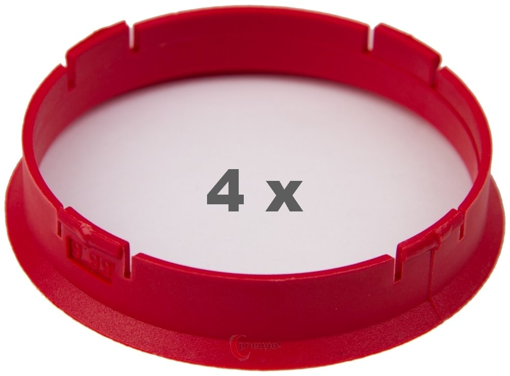 4 x Bague de Centrage 66.6 mm sur 63.4 mm Rouge/Red
